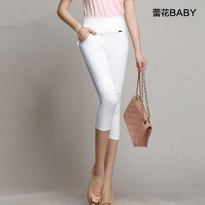 4xl плюс размер брюки женские летние стиль 2016 бермуды feminina черный белый леггинсы конфеты цвет highl талии брюки женские A0885