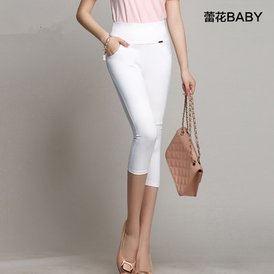 4xl plus size pants women summer style 2016 bermuda feminina black white leggings candy color highl waist pants female A0885