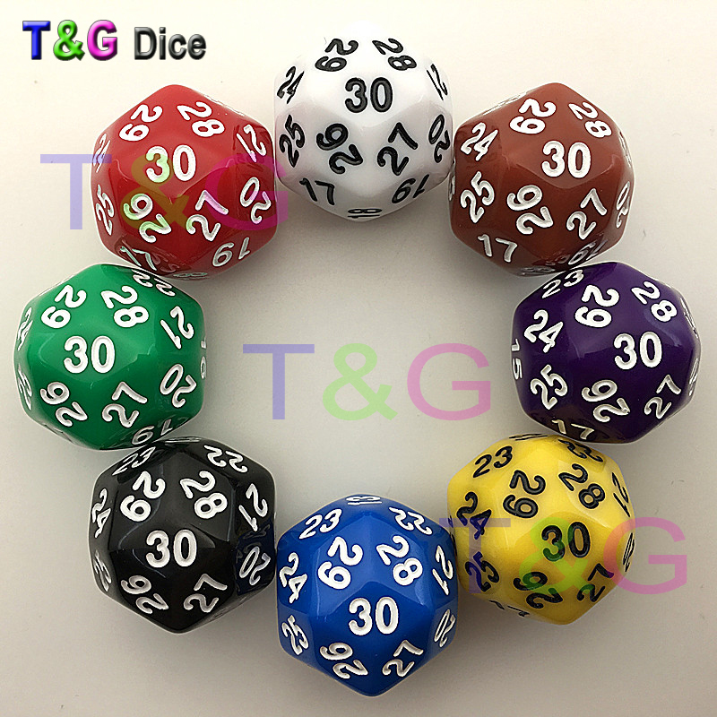 High Quality 30 Sided Dice 8 Colors Red Blue Green Yellow Black Purple Brown White Plastic Cubes 1 PC