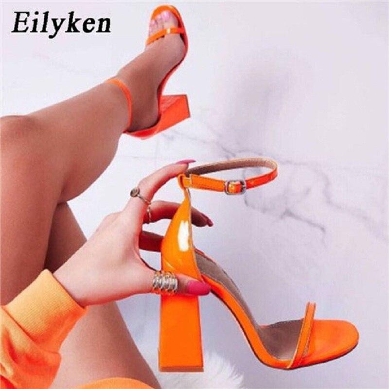 Eilyken New High heels Women Sandals Ankle Strap 2019 Summer shoes Square heel Open-toed Buckle Strap Sandals Pumps shoes