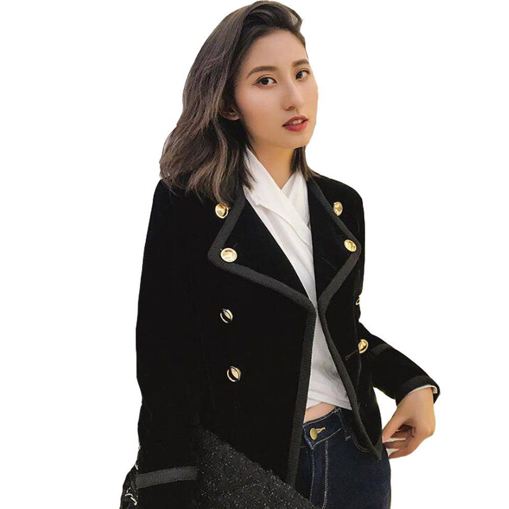 Yuxinfeng Spring Blue Velvet Blazer Women Button Doule Breasted Fashion Elegant Ladies Office Work Suit Blazer Coat Slim Jacket In Short Supply Blazers Back To Search Resultswomen's Clothing