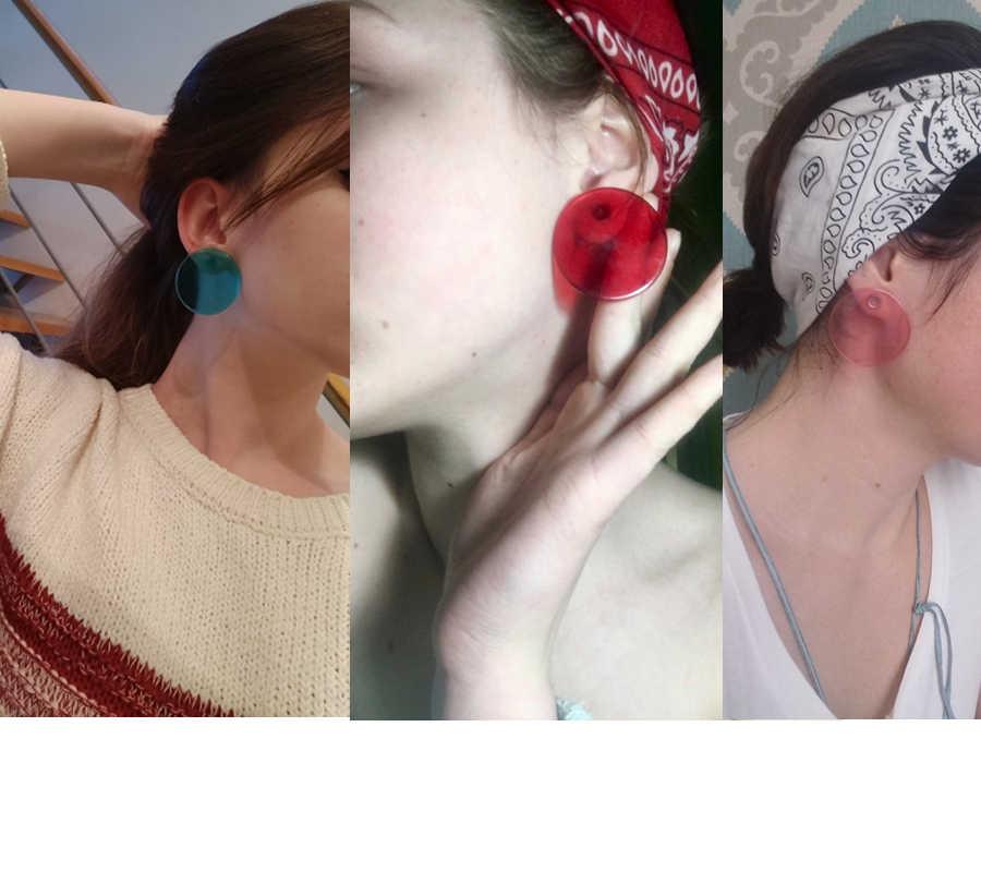 AOMU Simple Design Geometric Earrings Female Transparent Big Round Circle Acrylic Stud Earrings For Women Brincos Jewelry 4 cm