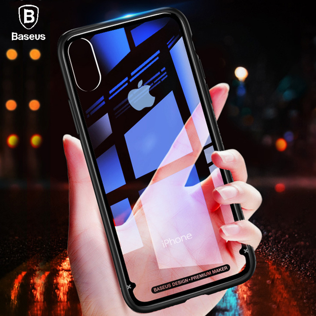 Baseus iPhone X Luxury Transparent Glass Back Protective Cover Case
