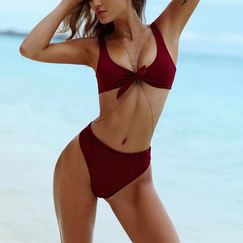 Solid Color Front Knot Bikini Set Summer Swimsuit 2017 High quality Double Layer Sexy High Waist