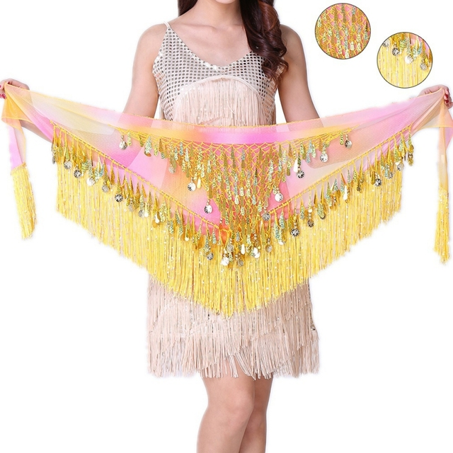 Hip Scarf Tribal Triangle Tassel Belt Crochet 2017 Summer Sequin