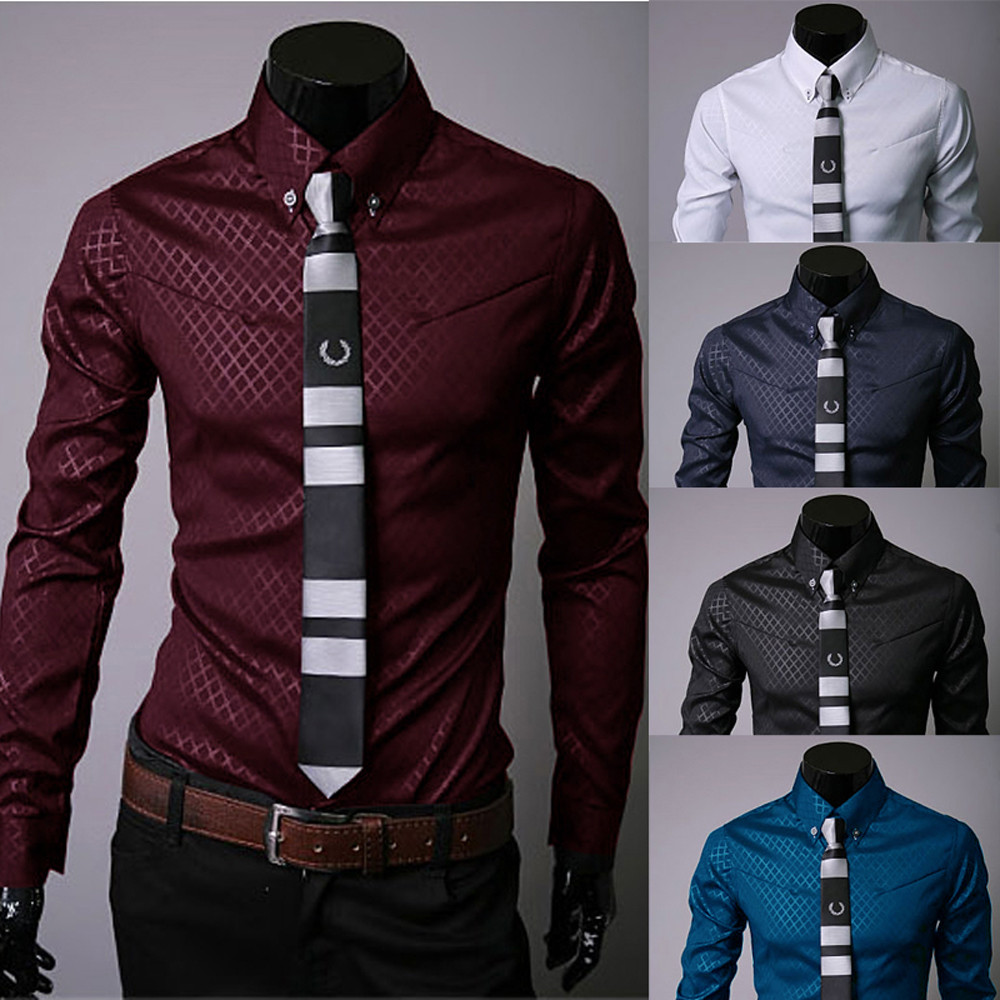 Muqgew Man Long Sleeve Shirts Silk Satin Chemise  Casual Fit Fashion Printed Blouse Casual Long Sleeve Slim Shirts Tops