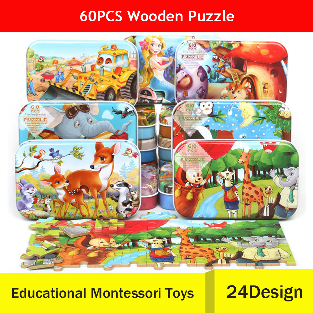 цена на 60pcs/Set 3D Puzzle Wooden Toys Cartoon Jigsaw Puzzle for Kids Early Educational Montessori Toys for Children with Iron Box
