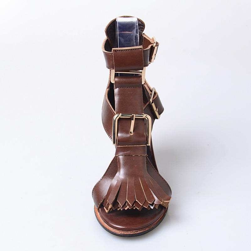 Sandales 8 À Franges Chaussures D'été Sangles Robe Cm Gladiateur Marron Talons Hauts Chunky Sandale Bal Rose Dames Cuir Femmes De Jady Véritable qRwntYBvx0
