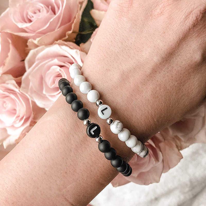 Письмо пара браслеты, натуральные камни из бисера браслет для мужчин и женщин A-Z 26 букв браслет 6 мм матовый черный оникс ручной работы
