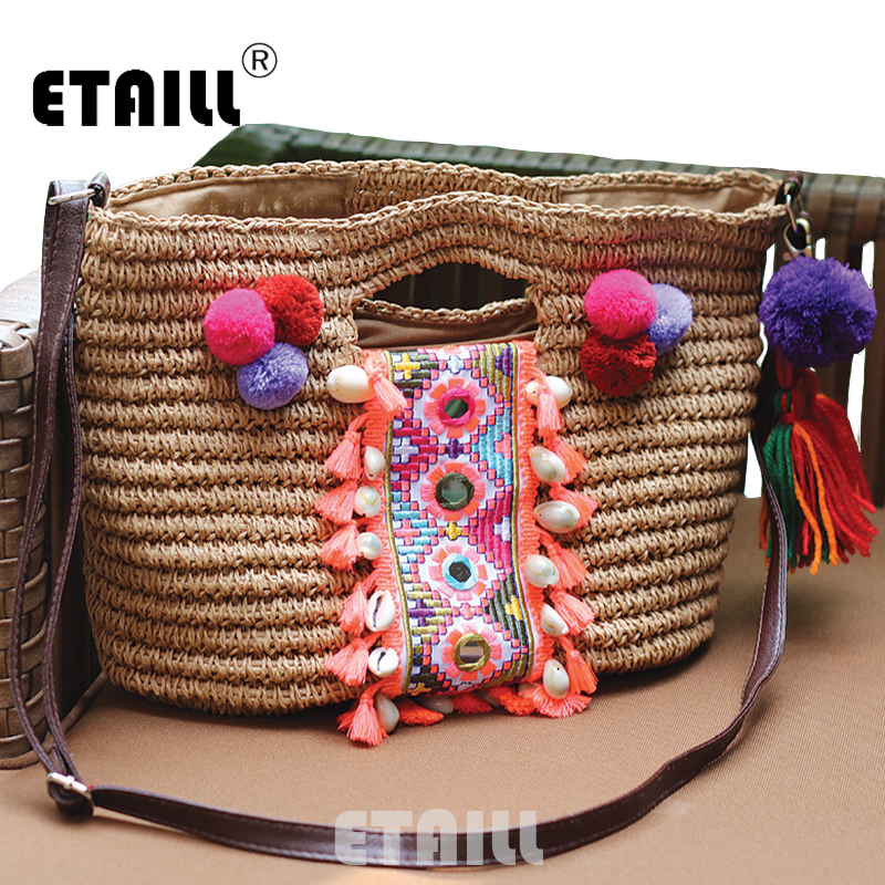 Summer Bohemia Knitted Straw Fashion Women's Handbags Beach Pompon Tassel Woven Indian Tote Luxury Famous Brand Shoulder Bags handmade flower appliques straw woven bulk bags trendy summer styles beach travel tote bags women beatiful handbags