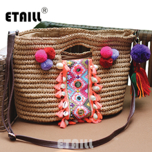 Summer Bohemia Knitted Straw Fashion Womens Handbags Beach Pompon Tassel Woven Indian Tote Luxury Famous Brand Shoulder Bags