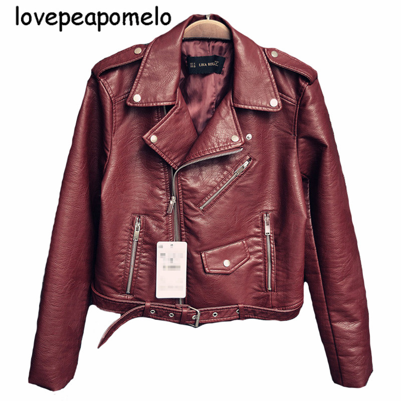 Spring And Autumn Leather Jacket Large Size Moto And Biker Women's Short Coat Lo