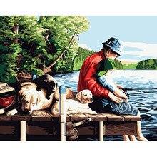 Decoración para el hogar digital de pesca pintura acrílica pintura al óleo kit by números 40*50 cm con Marco de la Pared de La Lona Poster Regalo cuadros DY053