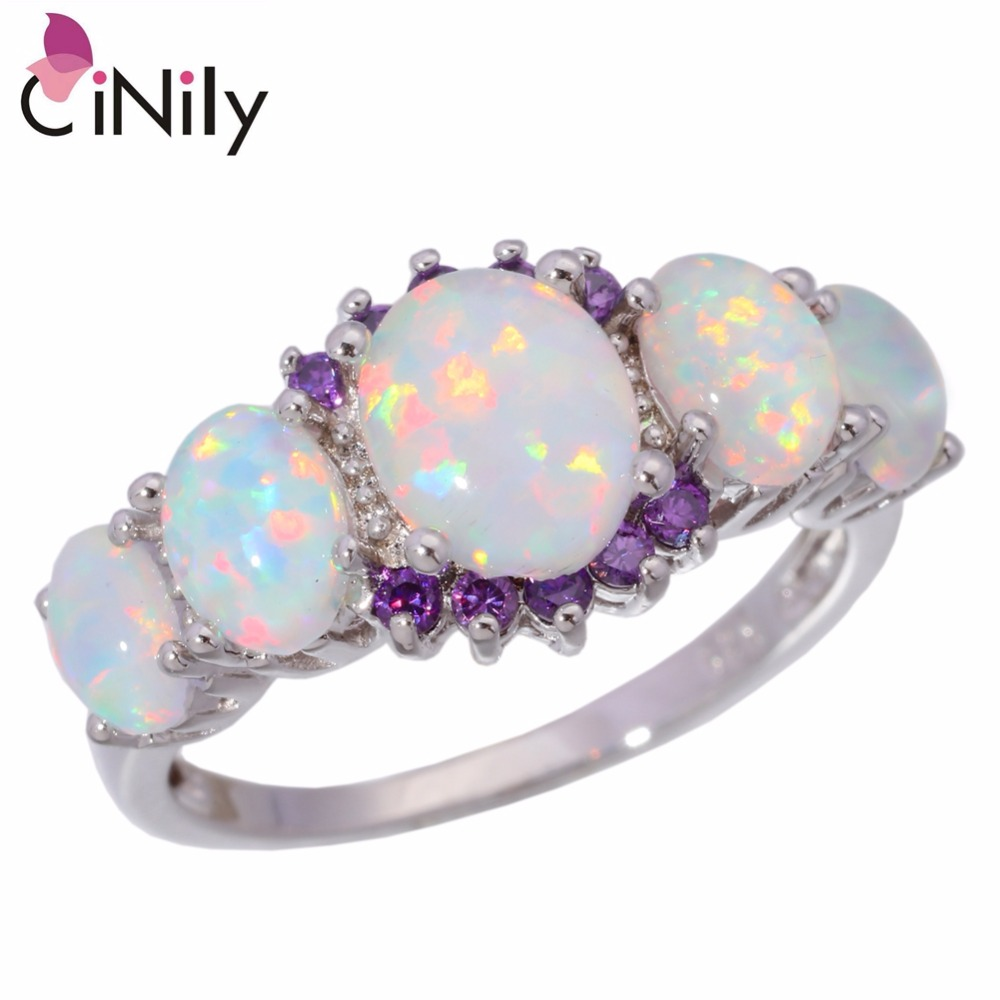 CiNily Created White Fire Opal Purple Zircon Silver Color Wholesale Hot Sell for Women Jewelry Wedding Ring Size 5-12 OJ4583