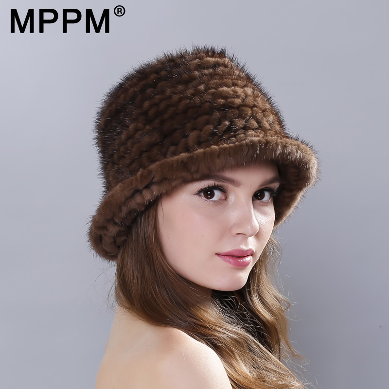 Real Mink Fur Hat Cap Sun Hat For Women 2017 New Female Cap Winter Knitted Mink Fur Hat Brand Thick Hats xthree real mink fur pom poms knitted hat ball beanies winter hat for women girl s hat skullies brand new thick female cap