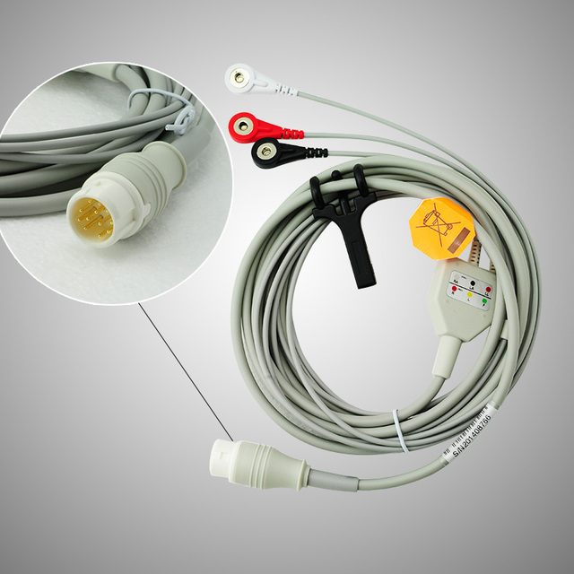 Dispositivos Médicos de Cuidados de saúde One-Piece 3-Lead ECG Cabo, 4.0 Snap Round 12 Pinos do Conector Compatível HP M1001A/B, M1002A/B