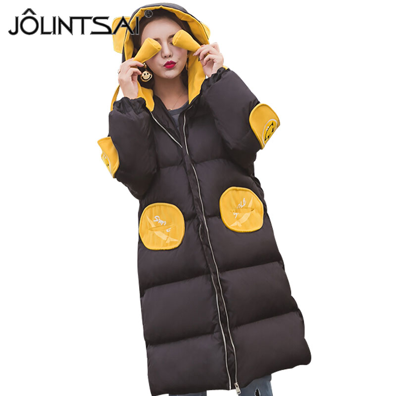 JOLINTSAI Winter Coat Women 2017 New Wadded Jacket Hooded Parkas Jackets Women Medium Long Coats Cotton-padded Clothing jolintsai winter jacket women mid long hooded parkas mujer thick cotton padded coats casual slim winter coat women