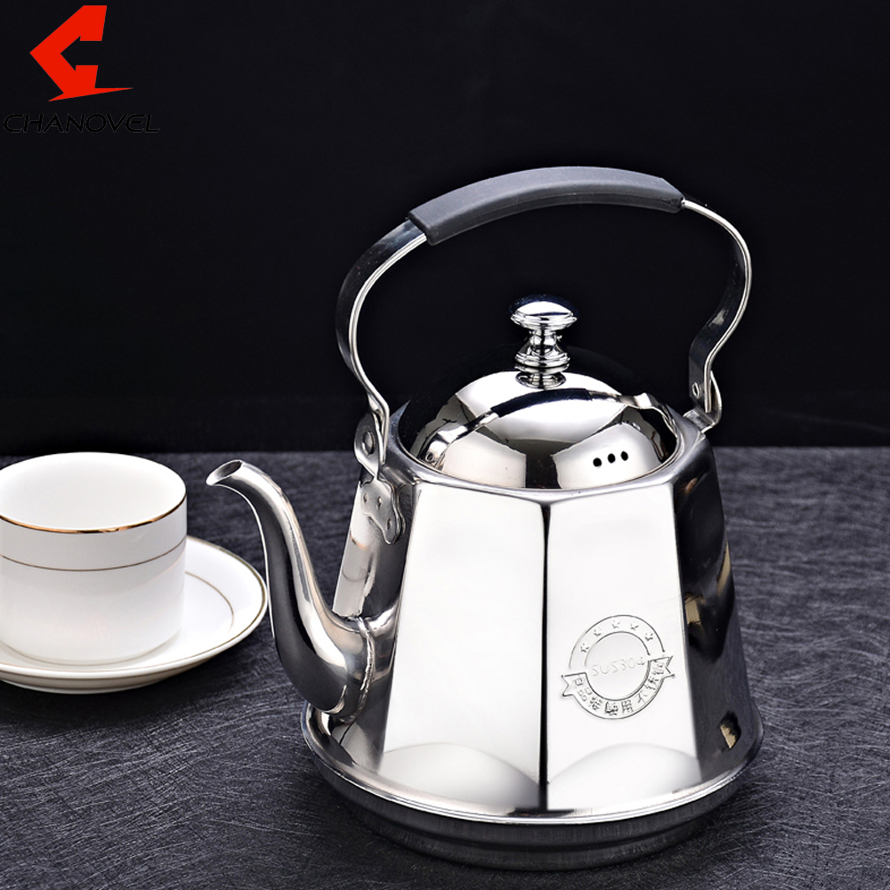 CHANOVEL 1.6L 304 Stainless Steel Teapot Coffee Sliver Cold Water Pot Kettle Home Kitchen Tea Pot Available in the induction