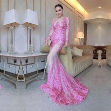 цена на Robe de Soiree 2020  Sheer Mermaid Appliques Lace Sweep Train Prom Gowns Long Sleeve Evening Formal Dress China Vestido Longo