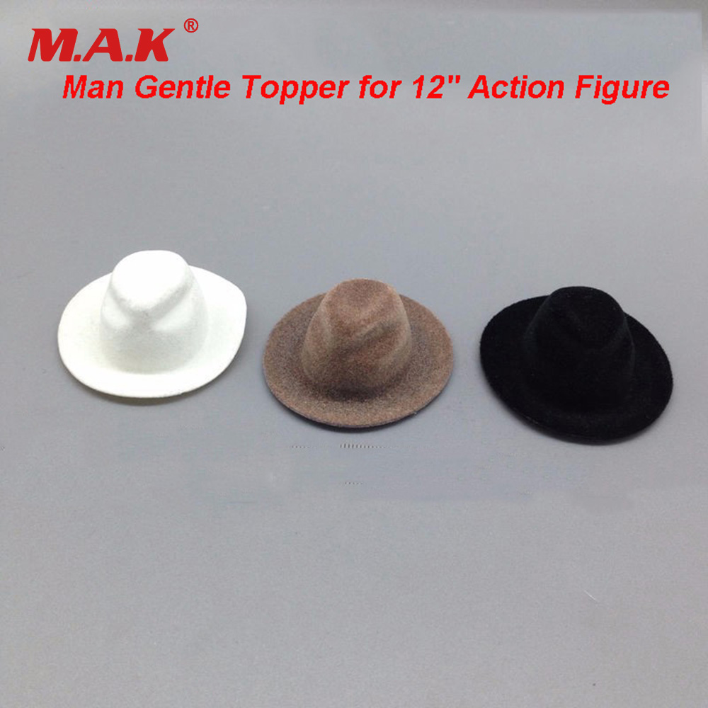 1:6 Scale Male Action Figure Cap Accessories White/ Brown/Black Man Gentle Topper for 12 Action Figure