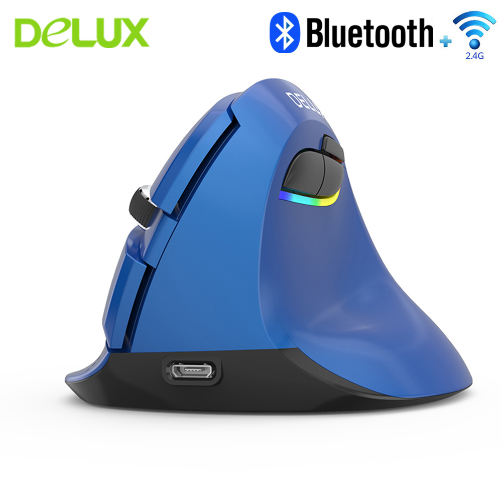 Delux M618 Bluetooth 2.4G Dual-Mode Vertical Mouse Ergonomic Wireless Built-in Rechargeable Power With Wrist Rest Mouse Pad Kit