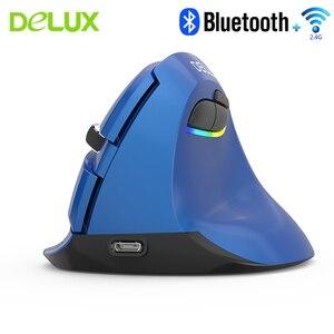 Delux M618 Мини Bluetooth 2,4G Двухрежимная Вертикальная мышь эргономичная Беспроводная перезаряжаемая мощность с подставкой для запястья комплект к...