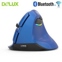 Deluxe M618 ergonomik dikey fare Bluetooth 4.0 + 2.4G çift modlu kablosuz fare şarj edilebilir PC fareler fare mat dizüstü