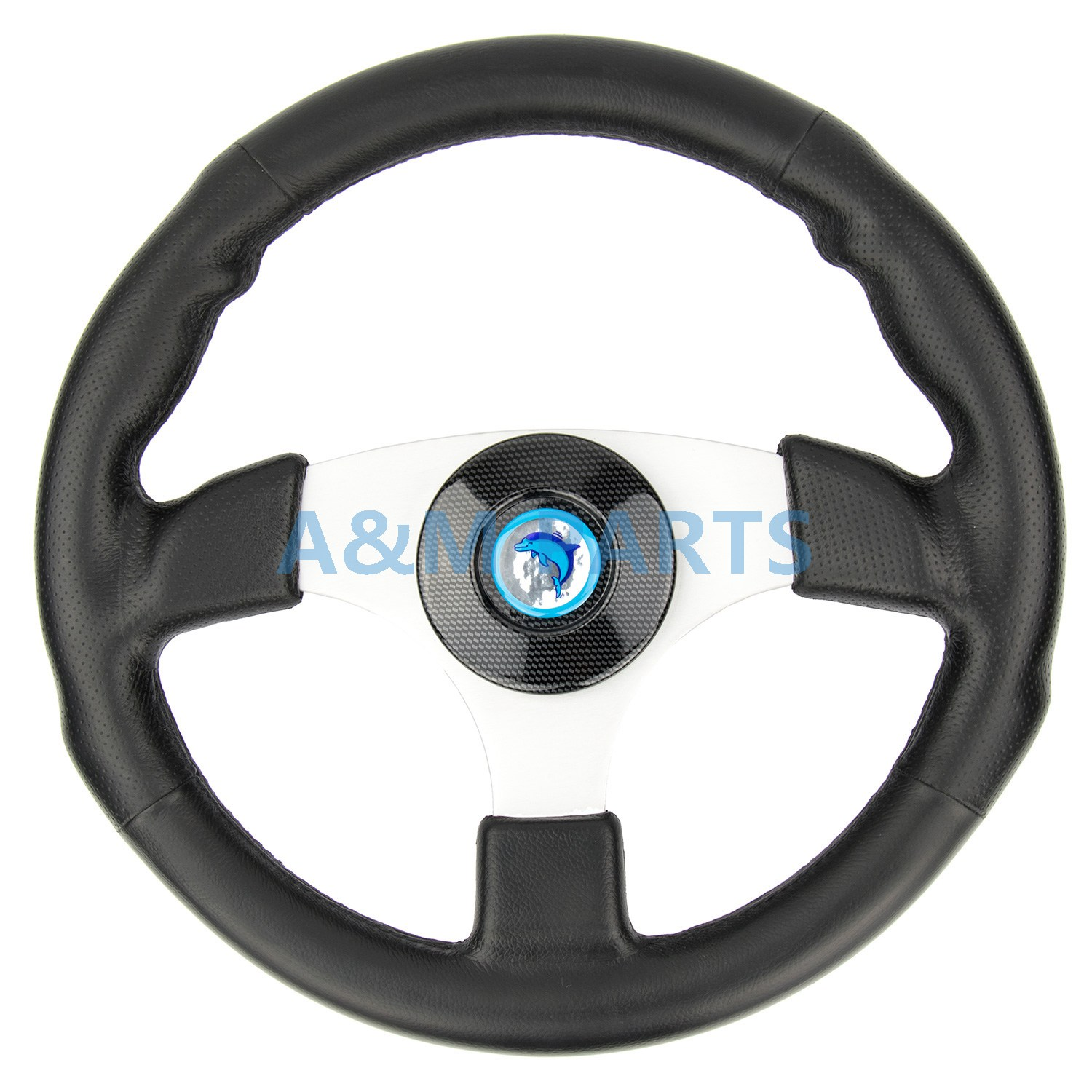 Marine Boat Steering Wheel Soft Polyurethane Leather Grip White Alloy Spoke free shipping 128 180mm aluminum alloy metal water steering wheel for rc gasoline boat racing o boat 180mm steering wheel