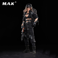 1/6 Scale Black Female Shooter Action Figure Black Version Toys For Children Hobby Gifts Collections Body Head Clothes Accessory