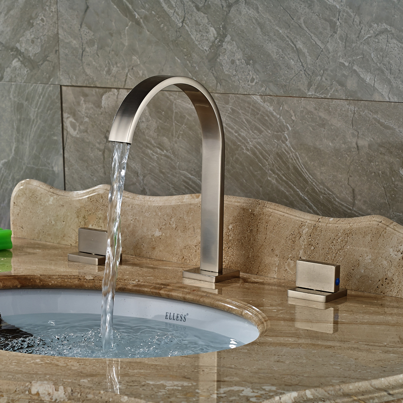 ФОТО Deck Mounted Brushed Nickel Basin Sink Mixer Faucet Tap Dual Handles 3 Holes with Hot and Cold Water