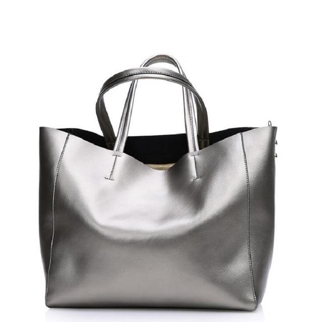 Casual Totalizador de Las Mujeres Bolsos de Cuero Dividida Modelos de Gran Capacidad Bolsos de Hombro de Cuero de Vaca Real Moda Shopping Bags QLS0602