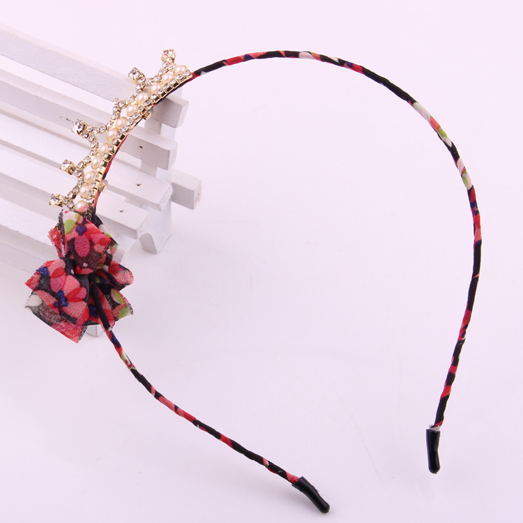 Fashion crown hair accessories for girls floral print chiffon ribbon knot pearl crystal clip rhinestone hairband tiaras hair bow in Hair Accessories from Mother Kids