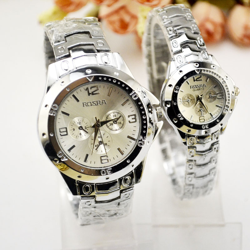 Fashion White Couple Watches, A Pair Of Korean Version Of The Trend Of Steel Belt Lovers Watch Men Watch Waterproof Watch Quartz
