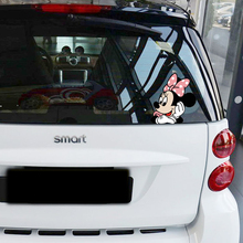 Aliauto Car-styling Cute Cartoon Minnie Peeping Accessories Car Tail Sticker and Decal for Bmw Ford Focus Vw Skoda Kia Peugeot