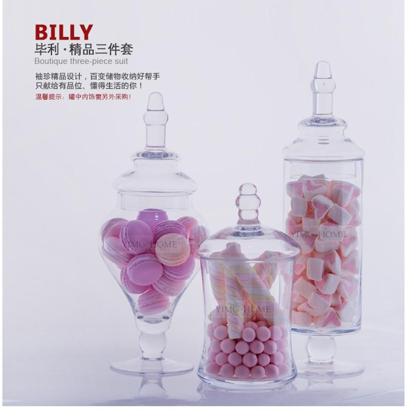 3 set transparent lid storage bottle glass candy jars wedding decoration canister mason jar jars for - Decorative Glass Jars
