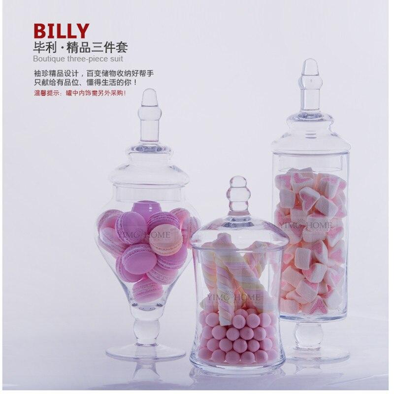 Aliexpress Buy 3 SET Transparent Lid Storage Bottle Glass Candy Jars Wedding Decoration