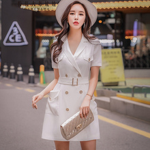 Dabuwawa New White Formal OL Dress Women Summer Double Breasted Button V neck Slim Suits Dresses with Belt D18BDR018