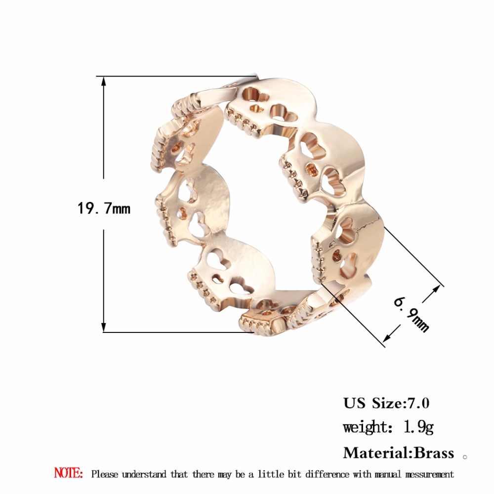 QIMING złoto srebro Vintage czaszki pierścień dla nieskończoności mężczyzn biżuteria szkielet pierścienie czaszki pasek na prezent Vintage moda dla kobiet dziewczyn
