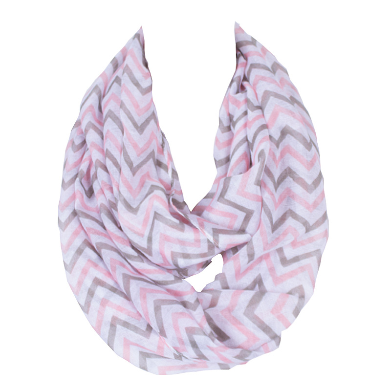 2017 Fashion Infinity New Design Wave Stripe Polyester Printing Pink Kids Scarf Ring Scarves For Petite Lady/Girl Size160*50cm