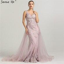 Mais novo sem mangas sereia tule formal vestidos de noite flores pérolas moda com trem vestidos de noite 2020 sereno colina la6442