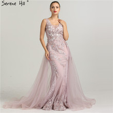 Newest Sleeveless Mermaid Tulle Formal Evening Dresses  Flowers  Pearls Fashion With Train Evening Gowns 2020 Serene Hill LA6442