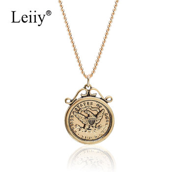 Leiiy Jewellery Gold Color Metal Long Chain Vintage Great Seal of The United States Pendant Necklace Women Sweater Necklace chain