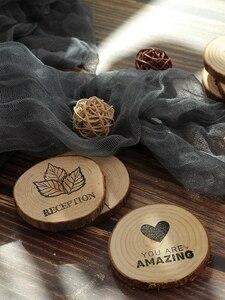 Image 3 - 直径 4 〜 7 センチ木製ラウンドピースハート型の葉のハロー愛クール特別な彫刻アート描画写真撮影アクセサリーの小道具