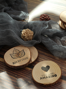 Image 3 - Diameter 4~7cm Wooden Round Piece Heart shaped Leaf Hello Loved Cool Special Carving Art Drawing Photography Accessories Props
