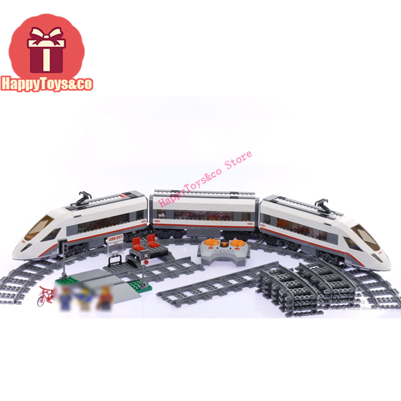 Legoing City series 60051 610Pcs High-Speed Passenger Train toys For Children Gift 02010 Building Blocks Set Compatible lepin 02010 city trains high speed passenger train model building blocks enlighten diy figure toys for children compatible 60051