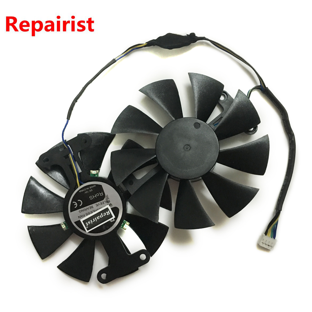 Repairist 2pcs/lot PowerColor Red Devil RX470 RX480 GPU Graphics cooler VGA fan For AXRX 470/480 4GBD5 Video card cooling 2pcs lot computer radiator cooler fans rx470 video card cooling fan for msi rx570 rx 470 gaming 8g gpu graphics card cooling