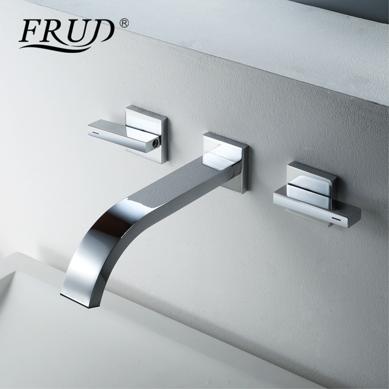 Frud Double Handle Wall Mounted Basin Faucet Hot Cold Tap Chrome Brass Bathroom Faucet Sink Double