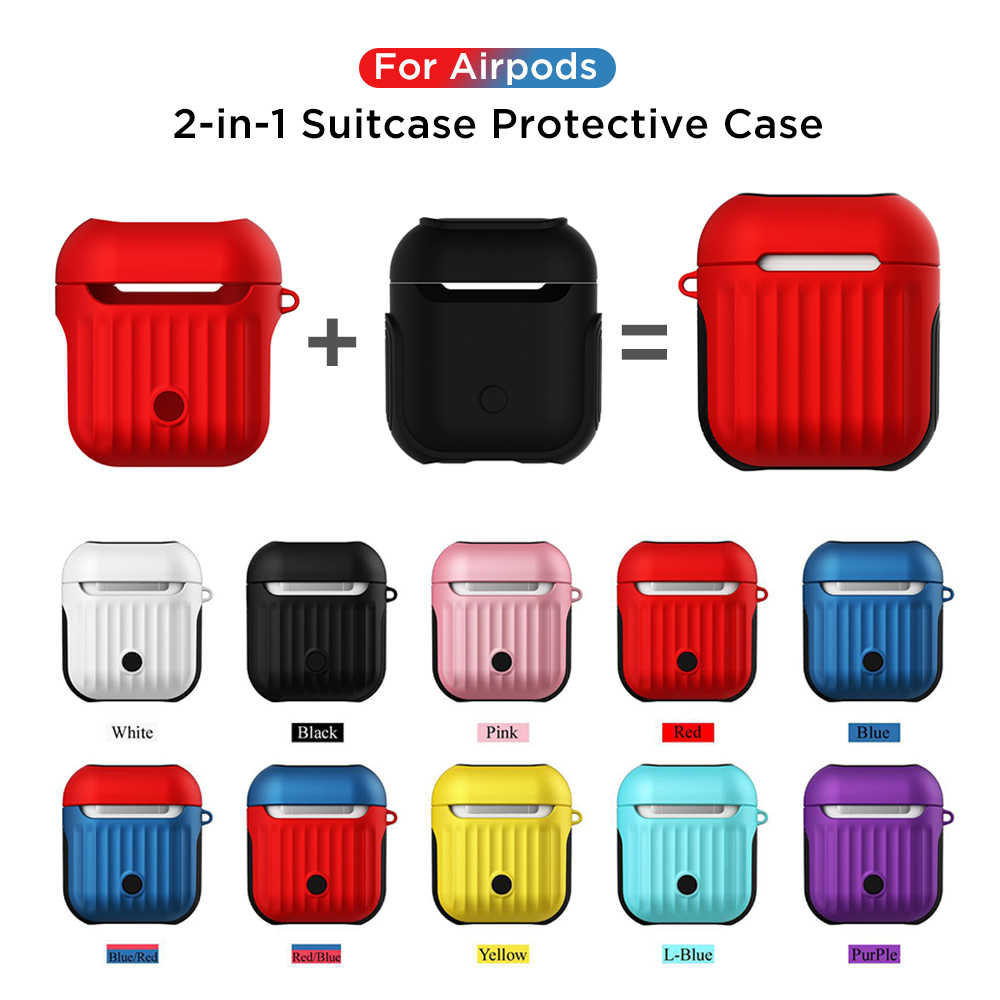 2-in-1 Anti-drop Shell For Airpods 2 1 Wired Bluetooth Earphone Protector Case Cover For Apple Airpods Headphone Accessories
