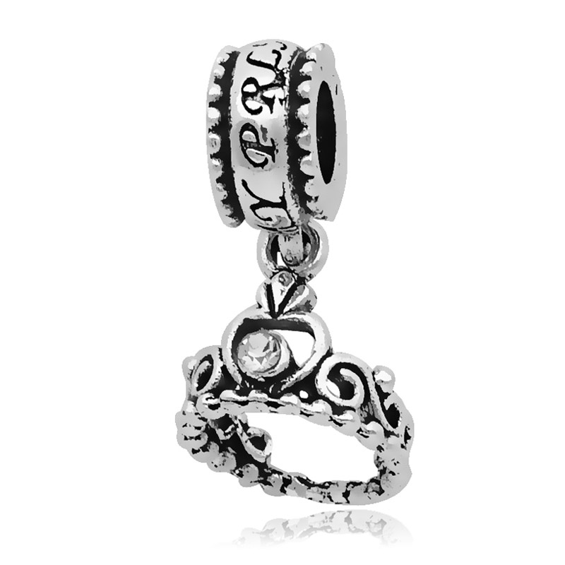 1PC Silver Beads Princess Crown Pendant Charm With Crystal Fit Original Pandora Charms Bracelet DIY Fashion Jewelry Making 2017