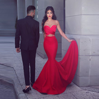 Red Sexy Satin Mermaid Prom Gowns Strapless Backless Ruffles Dress Floor Length Fashion Evening Gown Custom Made